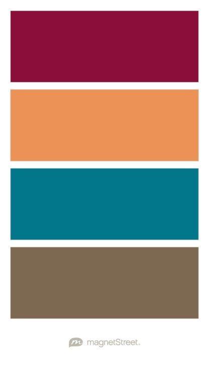 Burgundy, Sunset, Peacock, and Latte Wedding Color Palette - custom color palette created at MagnetStreet.com