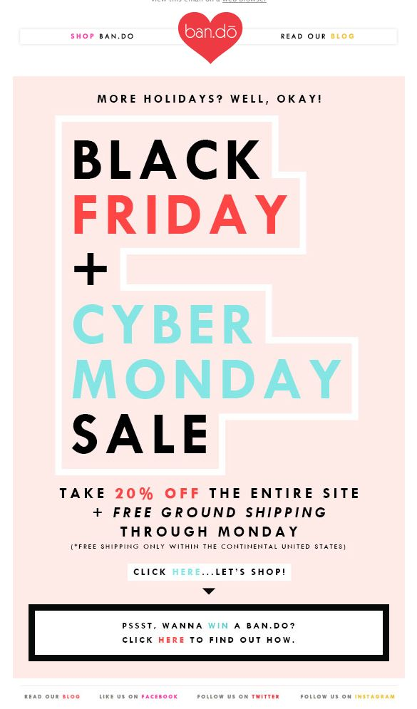 Ban.do Black Friday / Cyber Monday Sale