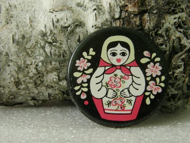 Soviet Matryoshka metal button / badge- vintage Russian folk art nesting doll.. made in USSR era Russia. 1970's.. $4.70, via Etsy.