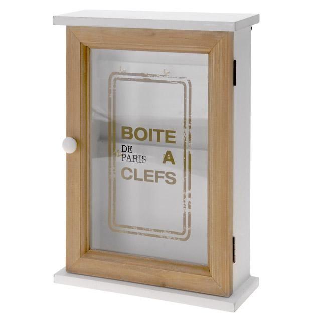 Bílá prosklená skříňka na klíče