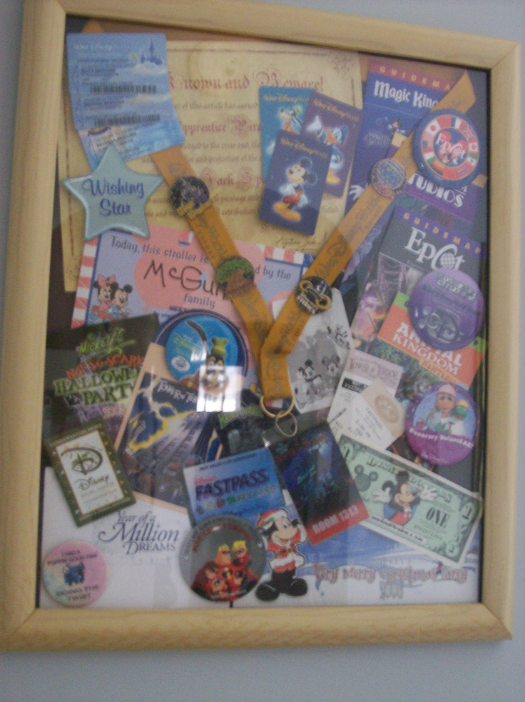Another fun at-home project. Too many souvenirs to put them all in the scrapbook? I made this large shadow box for extra buttons, maps and assorted goodies. Now I can see them every day!