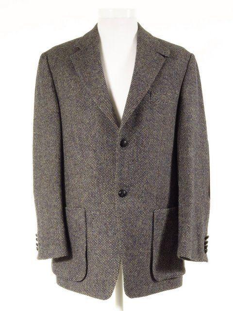 Mario Barutti Harris Tweed Jacket W Elbow Patches