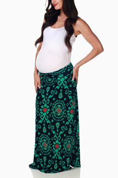 Green Navy Print Maternity Maxi Skirt