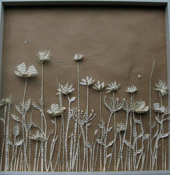 new meadow shadow box made from the pages of an old, Dutch book. #paper #shadow box #books #repurposed book #paper diorama