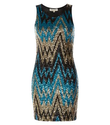 Parisian Blue Black and Gold Sequin Zigzag Dress