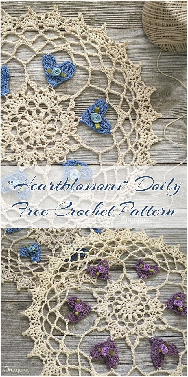 Heartblossoms Doily Free Crochet Pattern http://www.draiguna.com/2018/02/heartblossoms.html