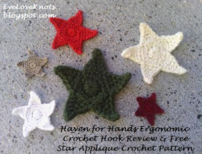 EyeLoveKnots: Star Applique in 6 Sizes with Haven for Hand Ergonomic Crochet Hooks! - Free Crochet Pattern & Review