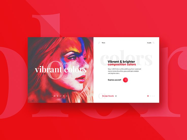 Website Slider Concept #01 / Design trends - Colors.  This is 2 out of 4 design trends sliders I want to create. Once I'm done with all 4 sliders, I'll animate the whole thing!  Hope you guys like ...