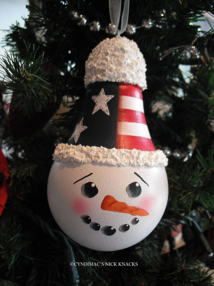 Patriotic Snowman Face Lightbulb Ornament 1495 via