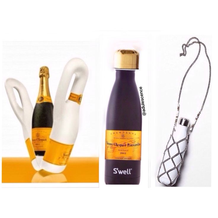 Veuve Cliquot Swell water bottle wine packaging, flask, cooler design concept with chic chain water bottle holder. Obviously not a graphic designer but it gets the point across!