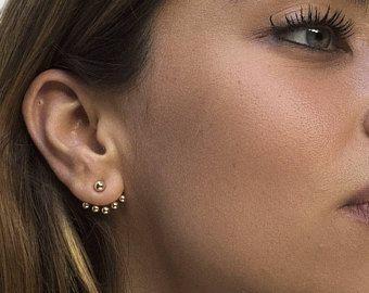 Ear Jacket minimal earrings - Ball-shaped ear jacket earrings - Minimal earrings - Minimal ear jacket - Minimal jewelry - Dainty ear jacket