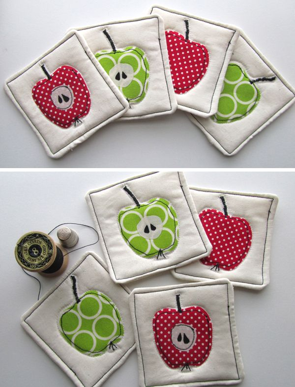 apple coasters from Scandinavian Stitches