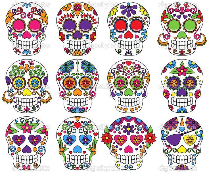 Imágenes de Pinterest | Vector conjunto de día de los muertos o calaveras de azúcar ...