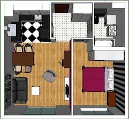 rzut z góry.: styl , w kategorii Ściany i podłogi zaprojektowany przez nklim.design