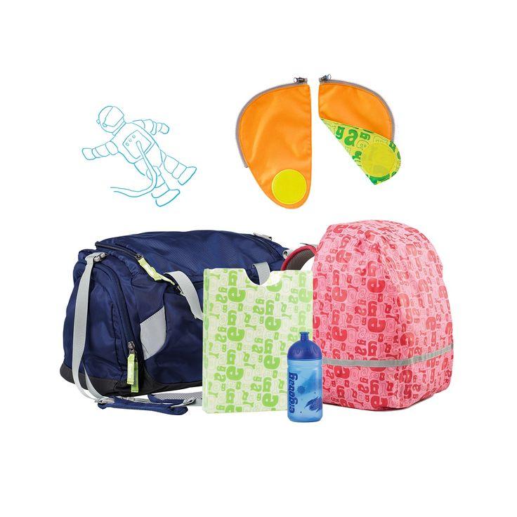 Zubehör für den Ergobag Schulrucksack. Passend zum nachhaltigen ergobag Schulrucksack für Kinder der 1. - 4. Klasse gibt es einen Regenschutz für den Rucksack, ein Sicherheitsset für bessere Sicherheit, eine Turntasche, eine Trinkflasche und eine Heftebox. http://www.spielzeug24.ch/ki/Schulrucksack-5766522.html