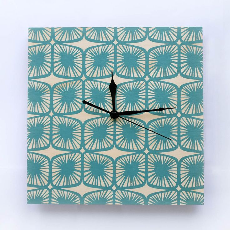 Designer Clock 'Pod' Teal - Hand Screen Printed | Felt