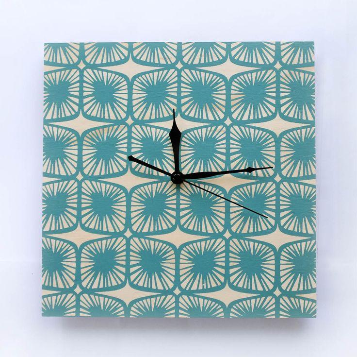 Designer Clock 'Pod' Teal - Hand Screen Printed | Felt