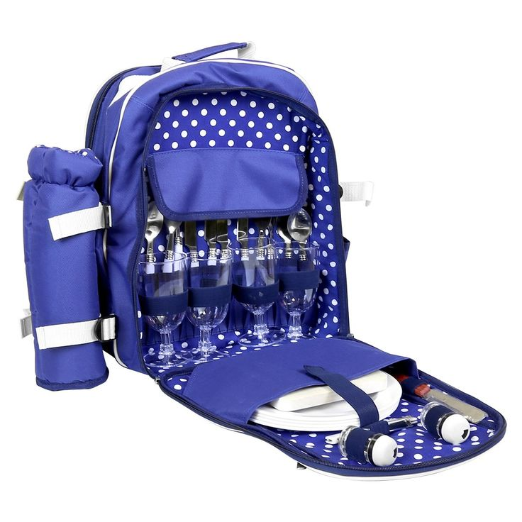 polka dot lined picnic backpack for four. This set includes everything you will need for the perfect picnic and more! The bag has two main compartments and a front zipped pocket. The knife, fork, spoon and glasses are unsuitable for themicrowave, oven and dishwasher.The set has the following: 4 x forks 4 x spoons 4 x knifes 4 x wine classes 4 x plastic plates 1 x cheeseboard 1 x cheese cutter 1 x detachable bottle holder 1 corkscrew 1 salt & pepper pot 1 x 600D polyester blanket 1 back...