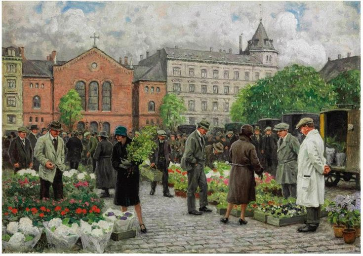 Paul Fischer (Danish, 1860-1934). The Flower Market. Oil on canvas. 38.7 x 55.2 cm - Датский художник Пауль Фишер (1860-1934). Цветочный рынок. Холст, масло. 38,7 х 55,2 см