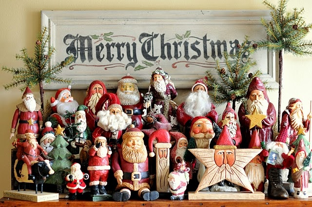 I collect Santa Claus', but have never grouped them together like this...gonna do it next Christmas!