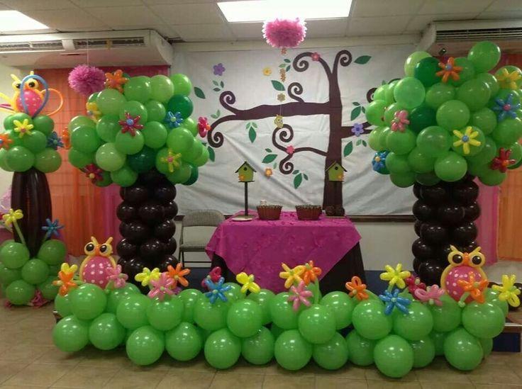 502 best balloon columns columnas globos images on pinterest for Baby shower tree decoration