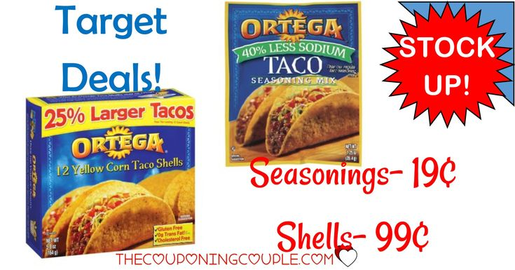 Stock up for Taco Night! Get Ortega Seasoning for only $0.19! Taco Shells for $0.99! Lots of other deals! PRINT YOUR Ortega COUPON NOW!  Click the link below to get all of the details ► http://www.thecouponingcouple.com/target-deals-ortega-taco-seasoning-0-19-taco-shells-1-06/ #Coupons #Couponing #CouponCommunity  Visit us at http://www.thecouponingcouple.com for more great posts!