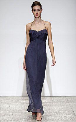 Amsale - silk chiffon bridesmaids dress color (french blue)