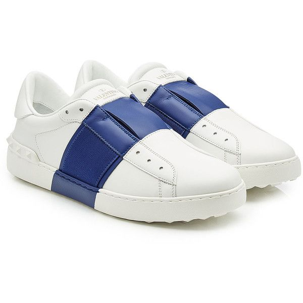 Valentino Open Leather Sneakers ($535) ❤ liked on Polyvore featuring men's fashion, men's shoes, men's sneakers, white, mens white leather shoes, mens white sneakers, mens white shoes, mens leather shoes and valentino mens shoes