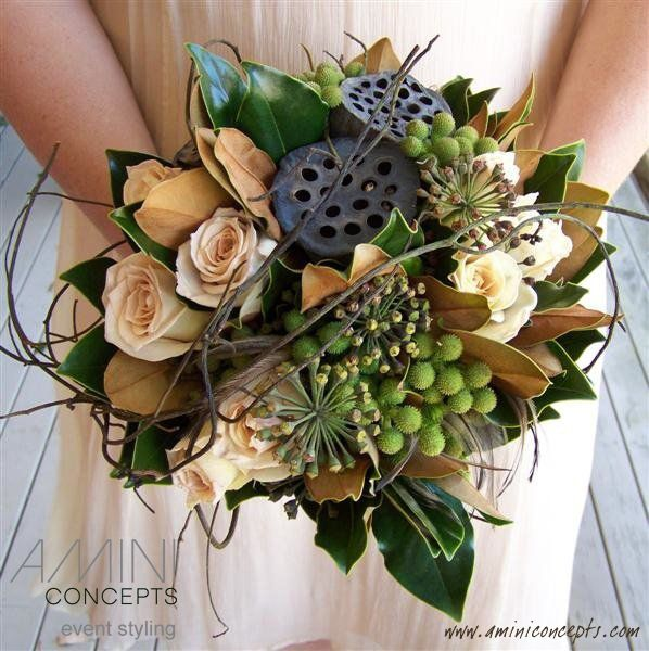 Roses With Dried Lotus Pods, Magnolia Foliage, Berries And Dodder Vine. Part 65