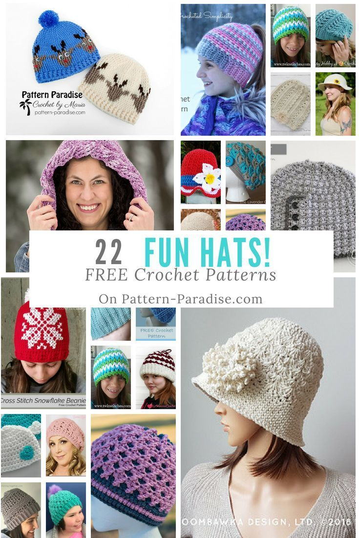 8a4233133cd Make these fun and Free Crochet Hat Patterns on Pattern-Paradise.com ...
