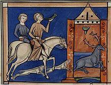Dagobert 1° chassant le cerf. Vie de st Denis, 13°s, Paris, BNF.- DAGOBERT 1°…