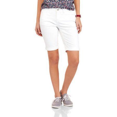 Faded Glory Women's Classic Denim Bermuda Shorts, Size: 18, White