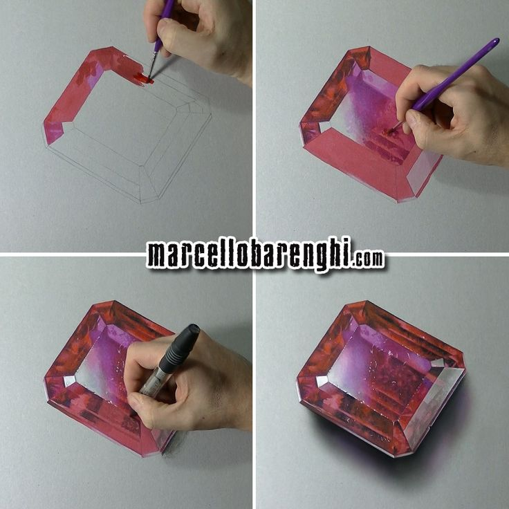 A scratched ruby - four drawing stages by Marcello Barenghi