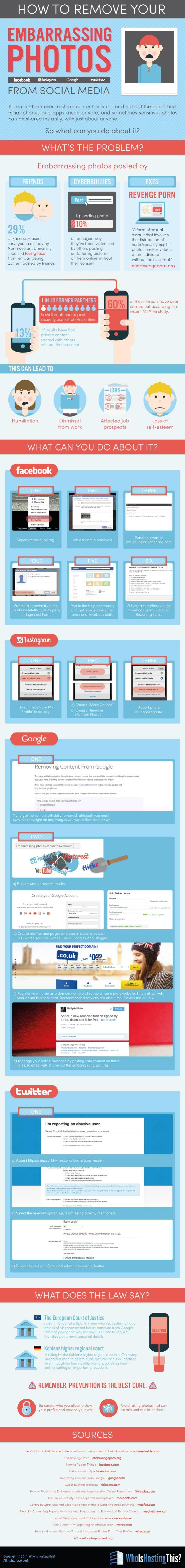 How To Remove Your Embarrassing Photos From SocialMedia:  It's easier than ever to share content on #socialmedia - and not just the good kind. #Smartphones and apps mean private, and sometimes sensitive, photos can be shared instantly, with just about anyone. So what can you do about it? See this handy #infographic that gives the detailed information on how to completely remove your unwanted images from #Google search, Facebook, Twitter and #Instagram.  @boribedi