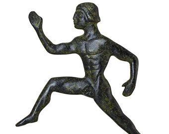 Olympic Games Runner Bronze Handmade Artwork Ancient Olympiad Sculpture Solid Bronze Art Statue of Olympic Athlete Figurine Collectible Art