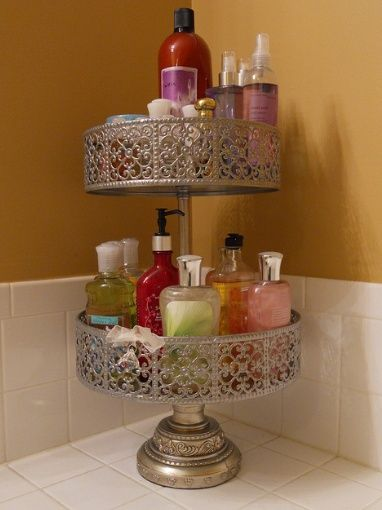 Use Cake Stands Or Tiered Plant Stands To Declutter Your Bathroom Counters Love This Idea Now If Only My Bathroom Were Big Enough For A Tiered Cake Stand