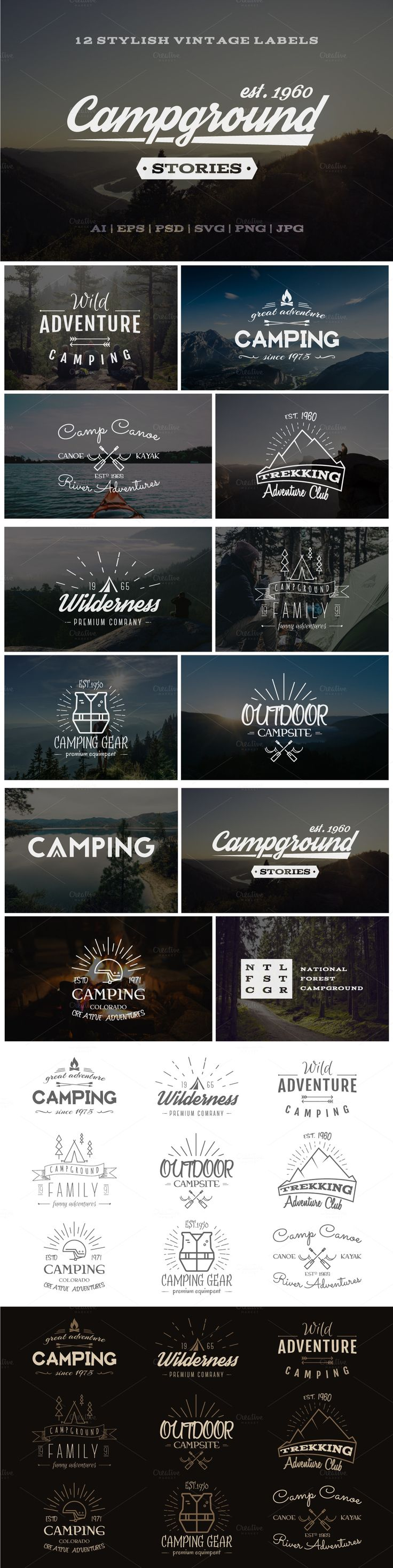 Outdoor Vintage Labels & Logos Set. Set of 12 Vintage outdoor explorer and…