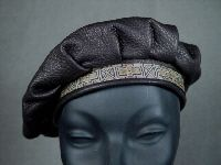 Black Deerskin Leather Beret with Designs on Band