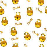 Candado inconsútil y llave de la cerradura del oro del modelo de la historieta Foto de archivo