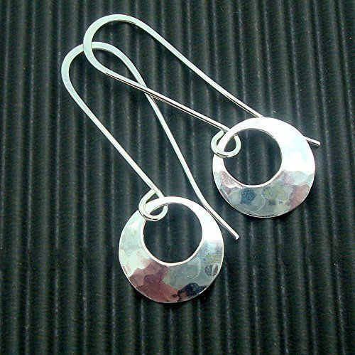 Hammered Disc Earrings Handmade Sterling Silver 1/2 Inch with Peephole