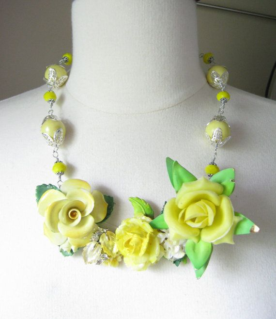 Statement Necklace, Wedding Necklace, Vintage Flower,  Upcycled,  Silver, Yellow, Rose, China, Plastic, Bib, Heirloom, OOAK - Texas Rose
