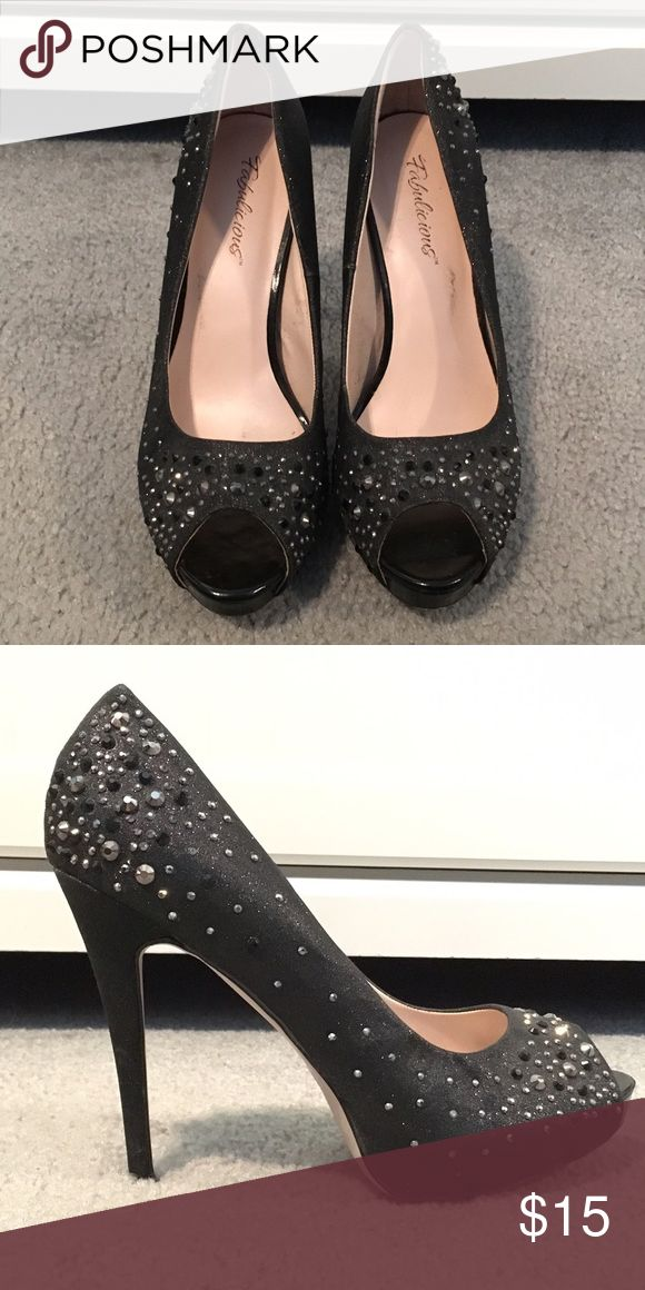 Black rhinestone glitter peep toe heels Size 10 peep toe heels. Black glitter base with additional rhinestones. Worn once, no flaws Shoes Heels