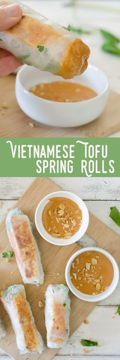 Vietnamese Tofu Spring Rolls! You will love these healthy salad rolls. Spring Rice Rolls stuffed with crispy peanut tofu, shredded cabbage, carrots, mint, cilantro and vermicelli noodles. Served with a spicy peanut-lime dipping sauce. Vegan and easily gluten-free.