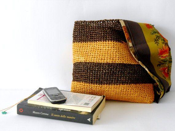 Crochet handbag, vintage style crochet purse, block colors, crocheted handbag of cellulose raffia, chocolate brown and yellow by cosediisa  Very trendy