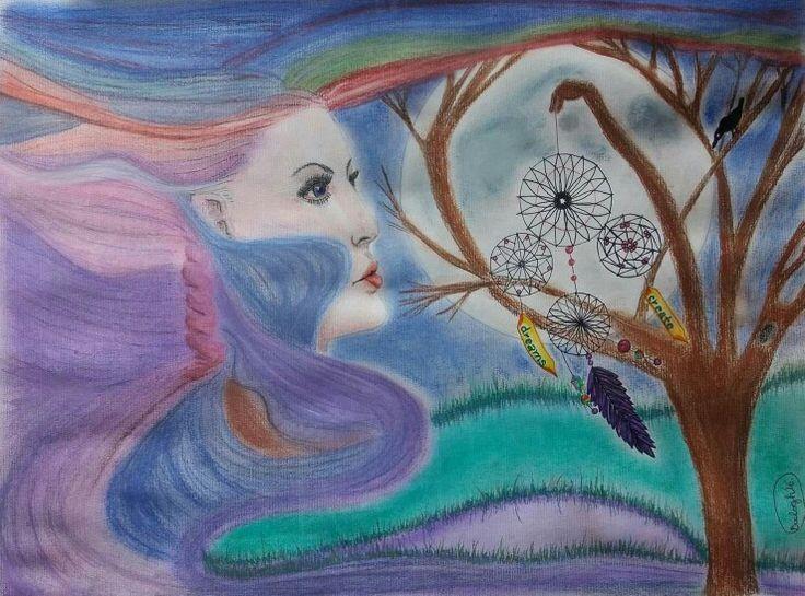 Wind faery dreams. Széltündér. Illustratio. Pastell. Artist: Balogh Krisztina.