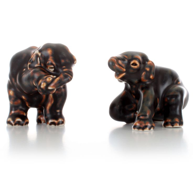20220 + 22741Royal Copenhagen figurines - set of two elephants - Grade A. Danish stoneware figurines with brown glaze in pristine condition! by DanishVintageDesigns on Etsy