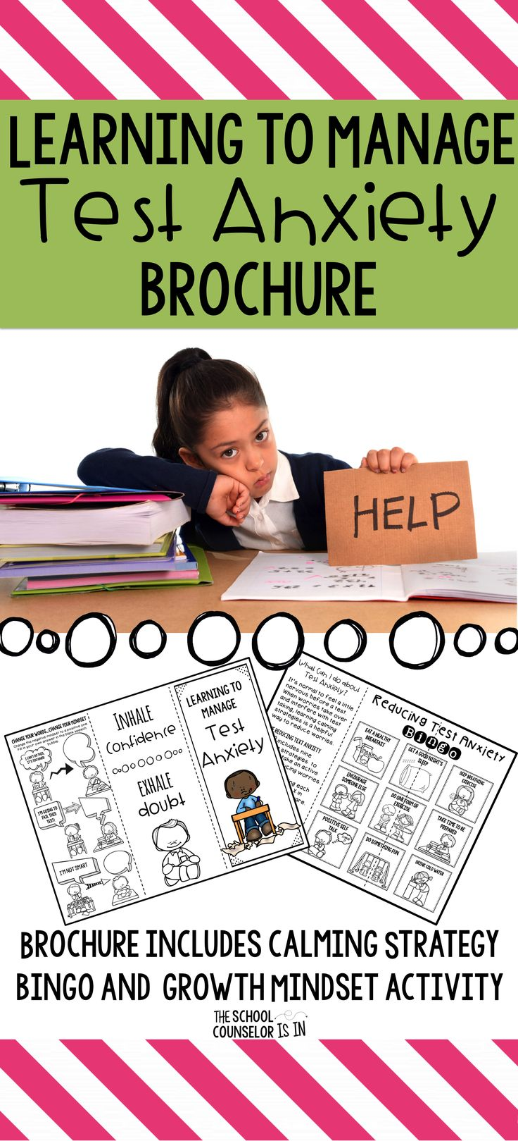 Learning to Manage Test Anxiety Brochure is a great activity to help students reduce worries. Brochure includes Calming Strategy Bingo and Growth Mindset Activity.