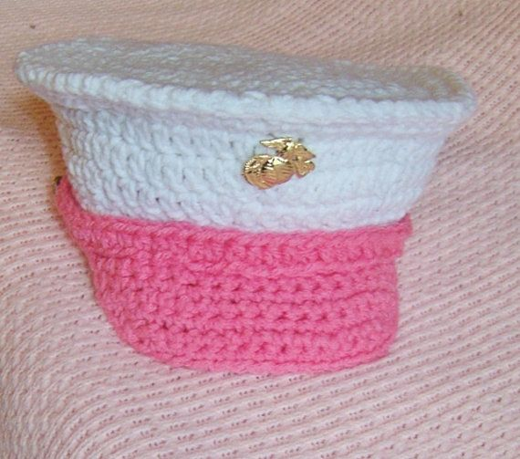For Uncle Austin....USMC baby girl hat dress blues Marine Corps by conniemariepfost