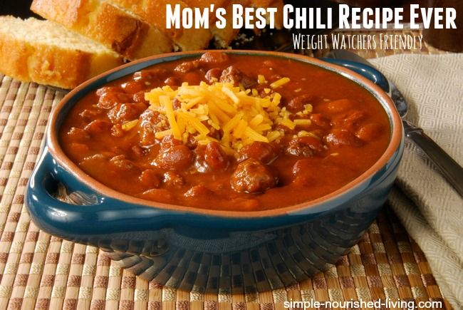 """Mom's Best Chili Recipe Ever with Weight Watchers Points - Mom says, """"It's the best chili recipe that I've ever made!"""" (About 296 calories and 7 WW Points+ per serving) #WeightWatchers #PointsPlus"""