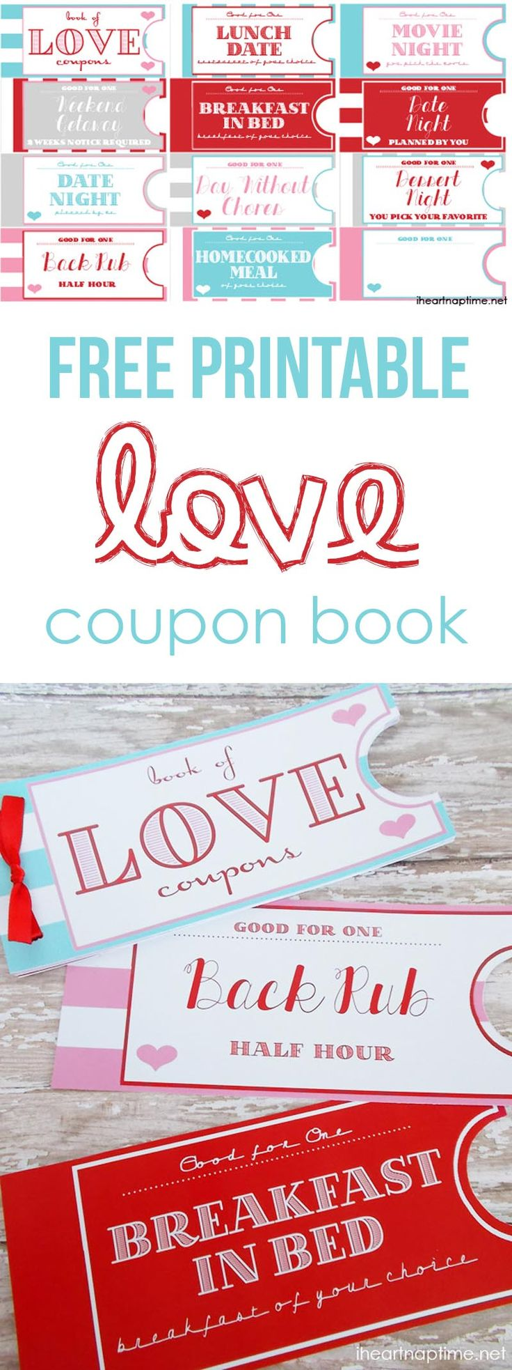 Free printable love coupon book on iheartnaptime.com ...such a fun and inexpensive idea for Valentines Day or an anniversary!